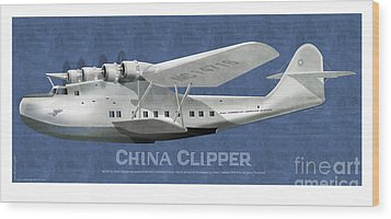Wood Print featuring the drawing China Clipper Nc 14716 by Kenneth De Tore