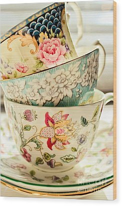 China Cups Wood Print by Colleen Kammerer