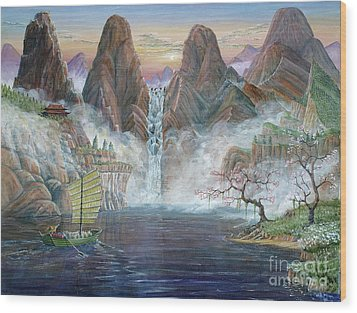 Wood Print featuring the painting China Dawn by Anthony Lyon