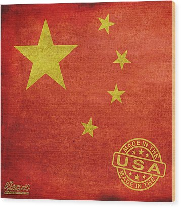 China Flag Made In The Usa Wood Print by Tony Rubino