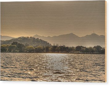 China Lake Sunset Wood Print