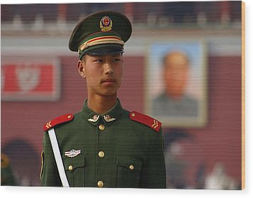 Wood Print featuring the photograph China Soldier by Henry Kowalski
