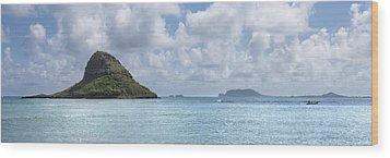 Chinamans Hat Panorama - Oahu Hawaii Wood Print by Brian Harig