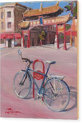Chinatown Bicycle Wood Print by Ron Wilson