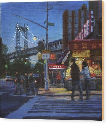Chinatown Nocturne Wood Print