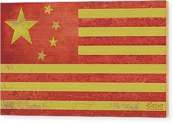 Chinese American Flag Wood Print by Tony Rubino