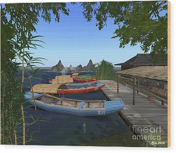 Wood Print featuring the digital art Chinese Boats by Susanne Baumann