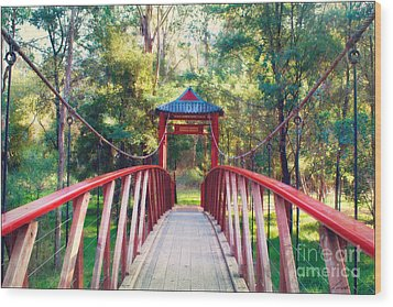 Chinese Bridge Wandiligong Wood Print by Linda Lees