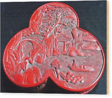 Chinese Cinnabar Trefoil Container Wood Print by Anonymous