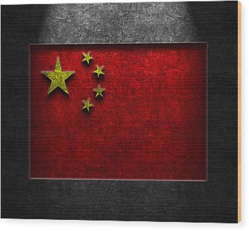 Wood Print featuring the digital art Chinese Flag Stone Texture by Brian Carson