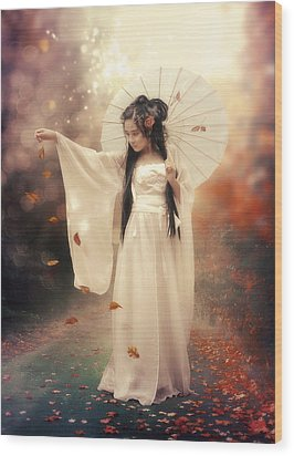 Chinese Girl Wood Print by Cindy Grundsten