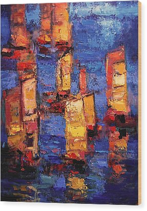 Chinese Junks Wood Print by R W Goetting
