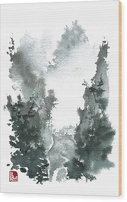 Chinese Landscape -mistyvalley Wood Print by Sean Seal