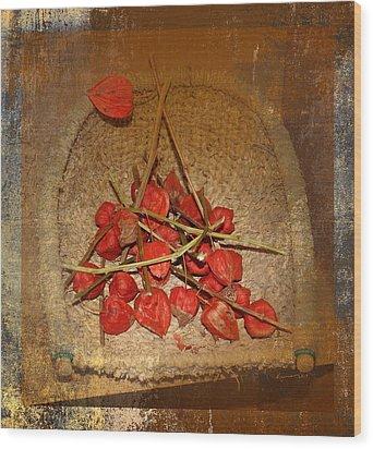 Chinese Lantern Seed Pods Wood Print by Kume Bryant