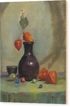 Wood Print featuring the painting Chinese Lanterns And Marbles by Susan Thomas