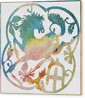 Wood Print featuring the digital art Chinese New Year 2014 Year Of The Horse by John Fish