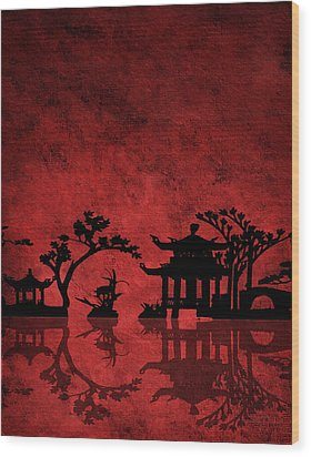 Chinese Red Wood Print