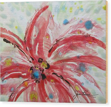 Wood Print featuring the painting Chinese Red Flower by Joan Reese