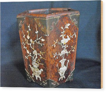 Chinese Scholar's Brush Container Wood Print by Anonymous