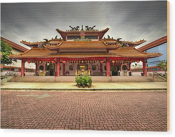 Chinese Temple Paved Square Wood Print by David Gn