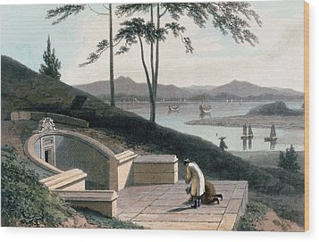 Chinese Tomb With Two Mourners Wood Print by Thomas & William Daniell