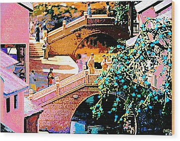 Chinese Village Bridges Wood Print
