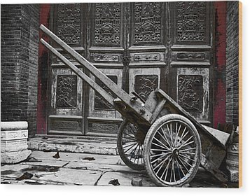 Wood Print featuring the photograph Chinese Wagon In Black And White Xi'an China by Sally Ross