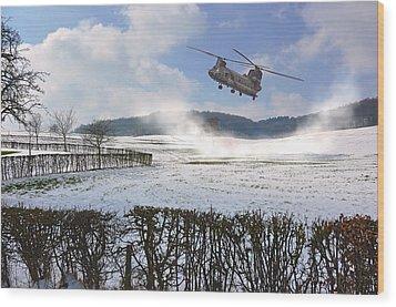 Chinook In Snow Dust Wood Print by Nop Briex