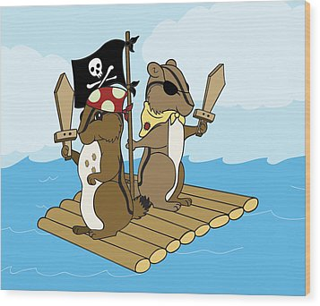 Chipmunk Pirate Dash And Scoot Wood Print by Christy Beckwith