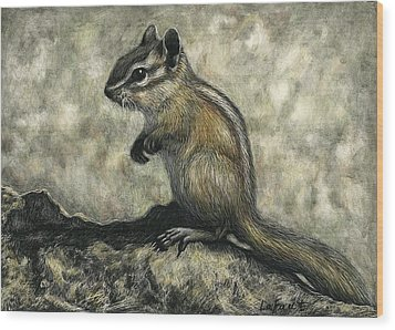 Wood Print featuring the drawing Chipmunk  by Sandra LaFaut