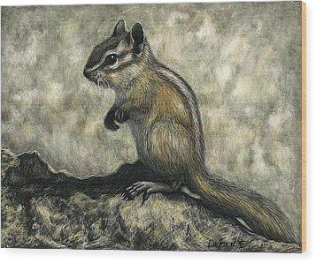 Chipmunk  Wood Print by Sandra LaFaut