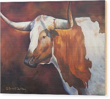 Wood Print featuring the painting Chisholm Longhorn by Karen Kennedy Chatham