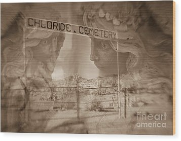 Chloride Cemetery Wood Print by Marianne Jensen
