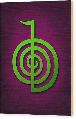 Cho Ku Rei - Lime Green On Purple Reiki Usui Symbol Wood Print by Cristina-Velina Ion