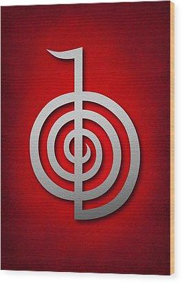 Cho Ku Rei - Silver On Red Reiki Usui Symbol Wood Print by Cristina-Velina Ion