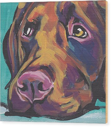 Choco Lab Love Wood Print by Lea S