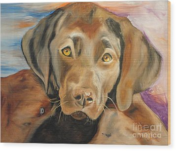 Chocolat Labrador Puppy Wood Print by PainterArtist FIN