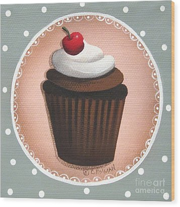 Chocolate Cherry Chip Cupcake Wood Print by Catherine Holman