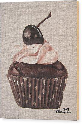 Chocolate Cherry Cupcake Wood Print by Kayleigh Semeniuk