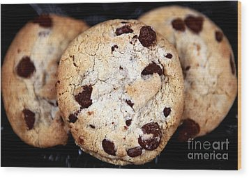 Chocolate Chip Cookies Wood Print by John Rizzuto