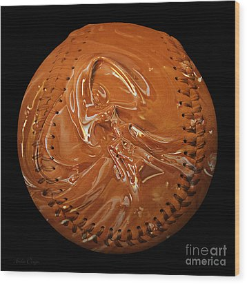 Chocolate Dipped Baseball Square Wood Print by Andee Design