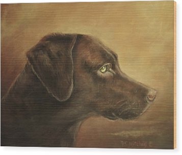 Chocolate Lab Wood Print by Patricia Schneider Mitchell