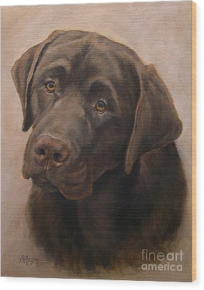 Chocolate Labrador Retriever Portrait Wood Print by Amy Reges