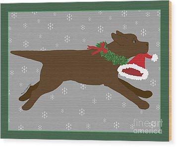 Chocolate Labrador Steals Santa's Hat Wood Print