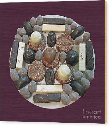 Chocolate Mandala Wood Print by Ausra Huntington nee Paulauskaite