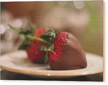 Chocolate Strawberries Wood Print