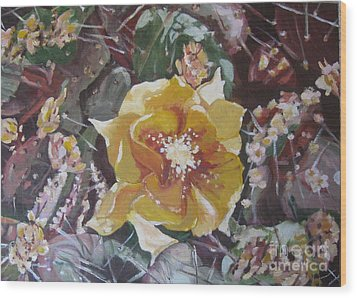 Wood Print featuring the painting Cholla Flowers by Julie Todd-Cundiff