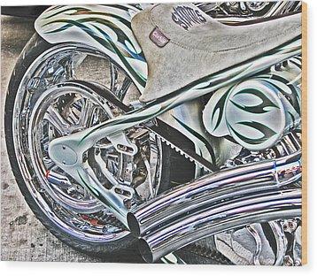 Chopper Belt Drive Detail Wood Print by Samuel Sheats
