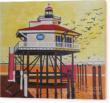 Choptank River Lighthouse Wood Print by Lesley Giles