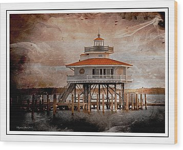 Choptank River Lighthouse Wood Print by Suzanne Stout
